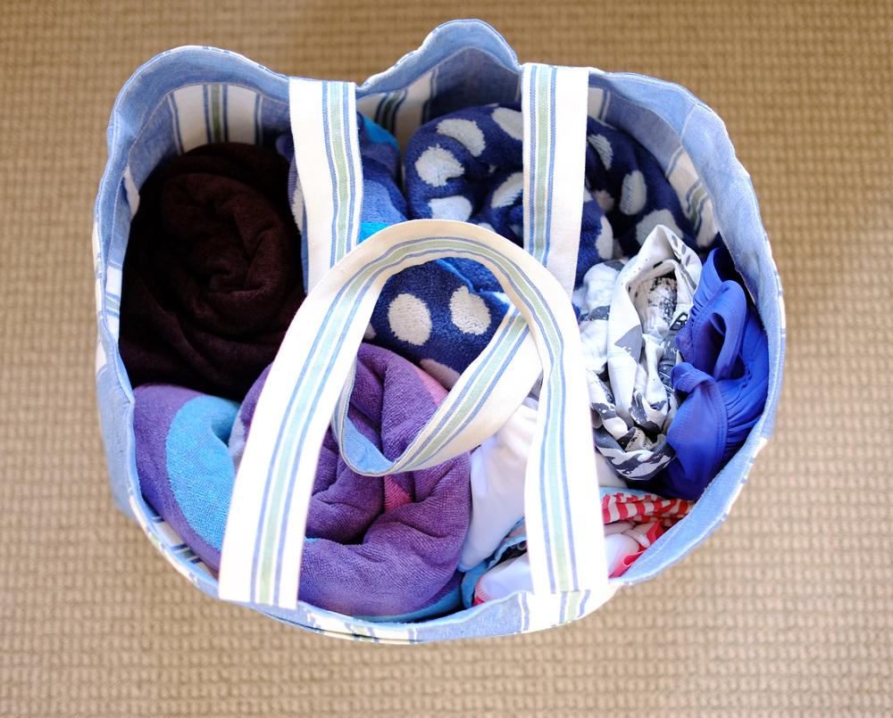 organised beach bag