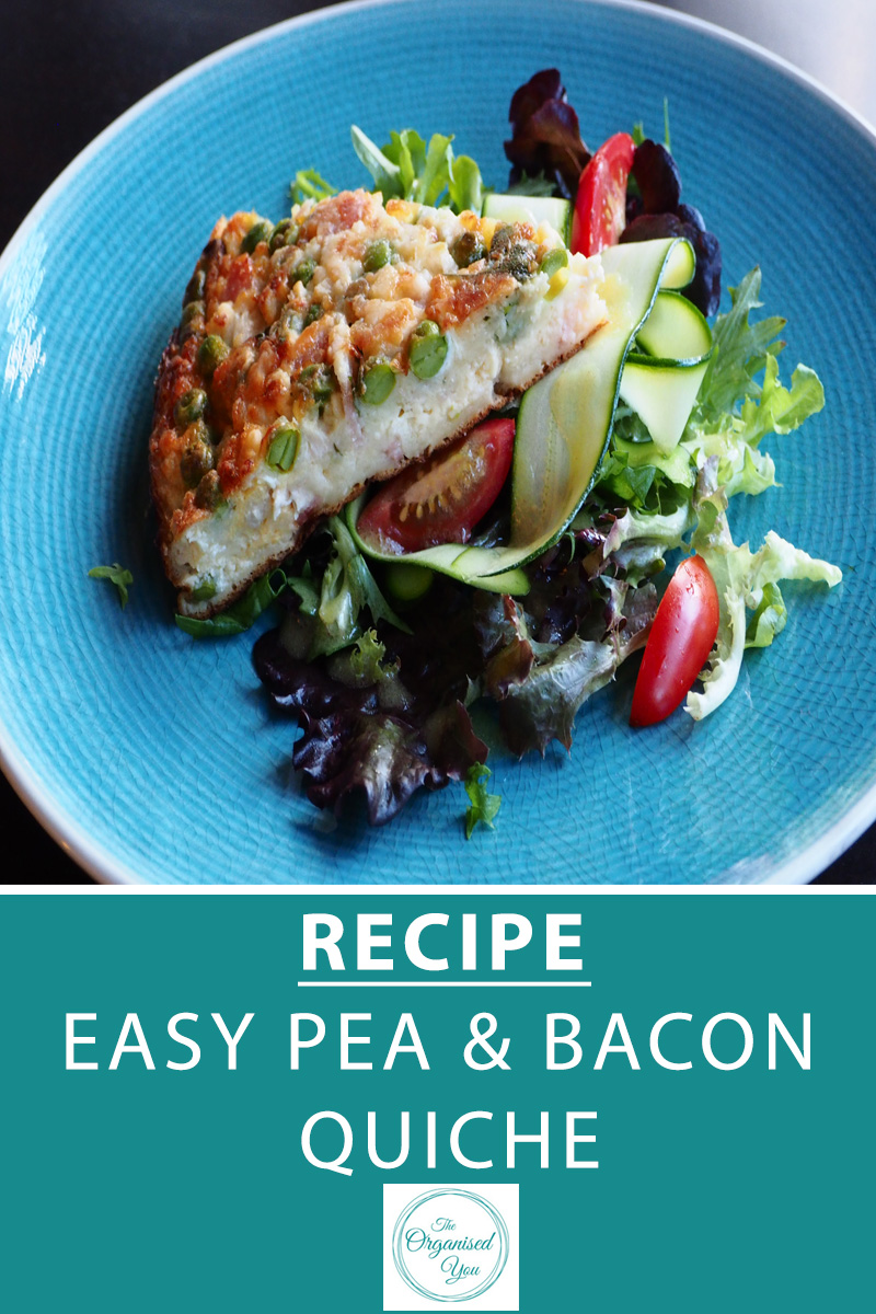 Recipe: Easy Pea & Bacon Quiche - grab your free download of the recipe for this delicious and easy quiche, all you need to do it throw ingredients in the bowl, mix together and put it in the oven! A perfect meal for busy working mums. Click through for the recipe!