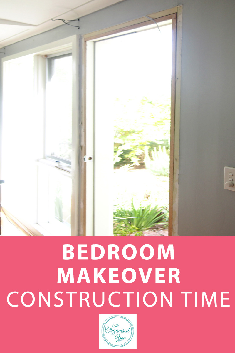 Bedroom Makeover: Construction Time - renovating a space often involves construction. If you've got a handyman husband it makes the process a whole lot easier! This bedroom makeover post shows how my husband removed a door and built a new storage cupboard. Click through to read the full construction makeover!