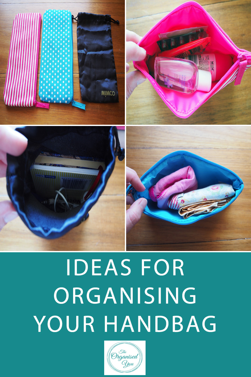 Ideas For Organising Your Handbag  - a frustrating amount of time can often be spent rifling through your handbag looked for a key item. When you've got young kids, you also have to be prepared for any situation, so your handbag not only needs to have items easily accessible, it also needs to be well-stocked for emergency situations! Click through for some tips and ideas for organising your handbag!
