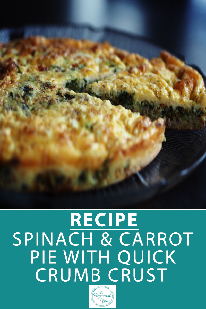 Recipe: Spinach & Carrot Pie with Quick Crumb Crust - this simple recipe is a great for using up surplus vegetable stock that is nearing its use-by date in the fridge. With a light crumb crust, it is filling and delicious, but also quick to make, so perfect for busy working mums! Click through for the free download printable of the recipe