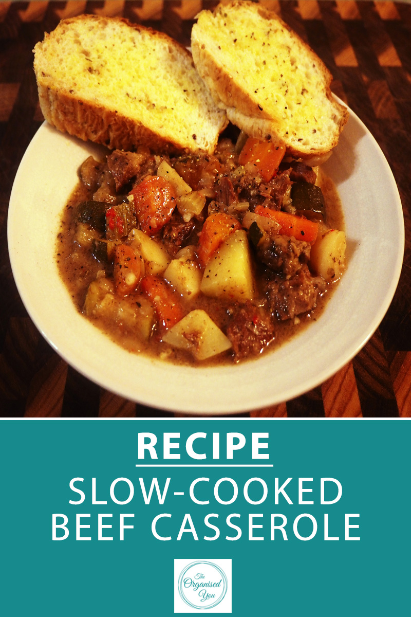 Recipe: Slow-Cooked Beef Casserole - a slow cooker is the perfect solution for busy Mums. You can just pop the slow cooker on in the morning, and leave it do it's thing throughout the day! Do you own a slow cooker? Click through for your FREE recipe printable of this delicious and super-easy beef casserole
