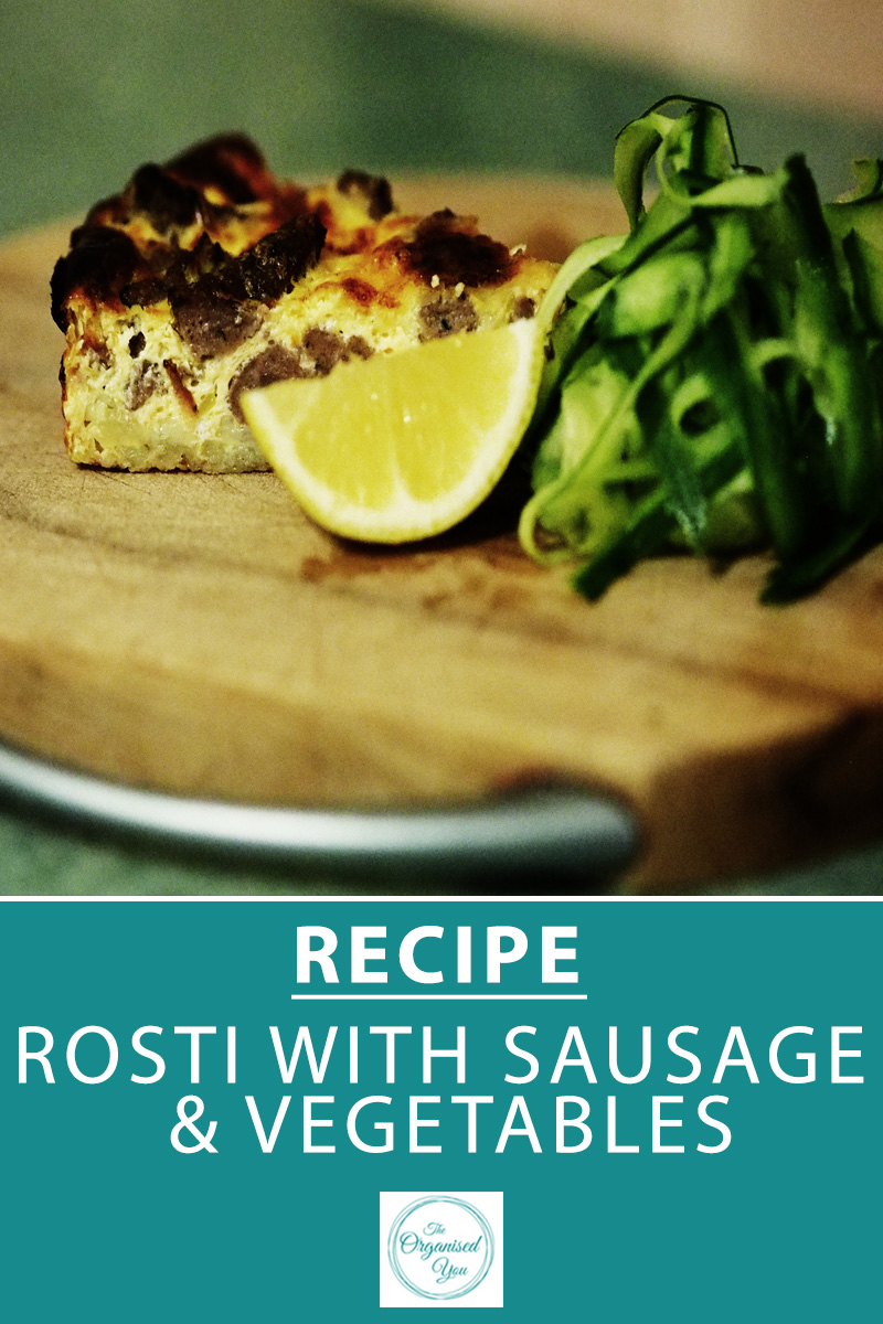 Recipe: Rosti with Sausage & Vegetables - an easy mid-week dinner is essential for busy mums. This recipe is super-simple and uses only a few ingredients, but is also a great way to use up vegetables in your fridge. Click through for the FREE recipe download for this delicious and easy rosti recipe