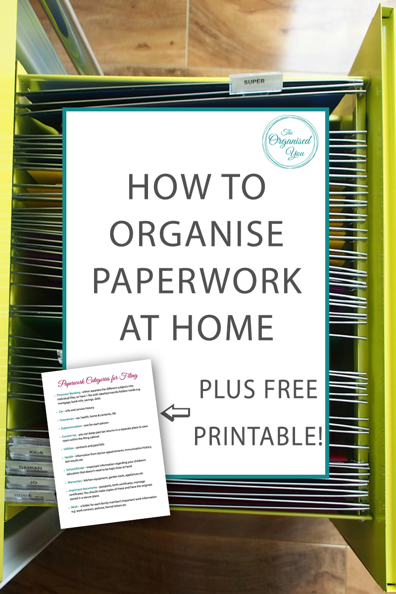 How to Organise Paperwork at Home - having an organised system for your paperwork will prevent paper clutter piles building up in your home. A filing cabinet is a perfect way to organise your paperwork and keep it categorized. Click through to read how I organised our paperwork and grab your FREE checklist of the categories you need for filing paperwork!