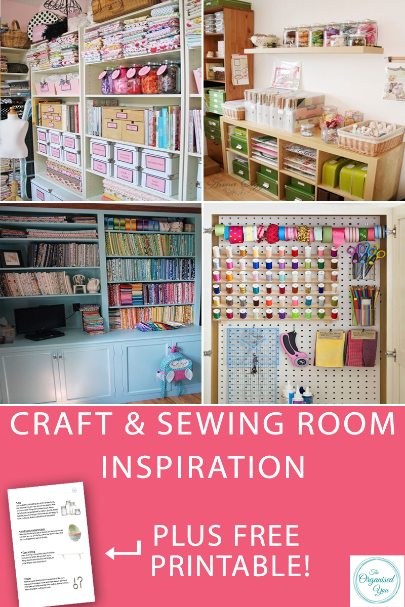 Craft & Sewing Room Inspiration - are you in need of some inspiration for getting your craft or sewing room organised? I've rounded up the most creative and organised spaces to provide all the inspiration you need for getting your space sorted. Click through to grab your FREE checklist of the essential products every sewing and craft room should have to stay organised!