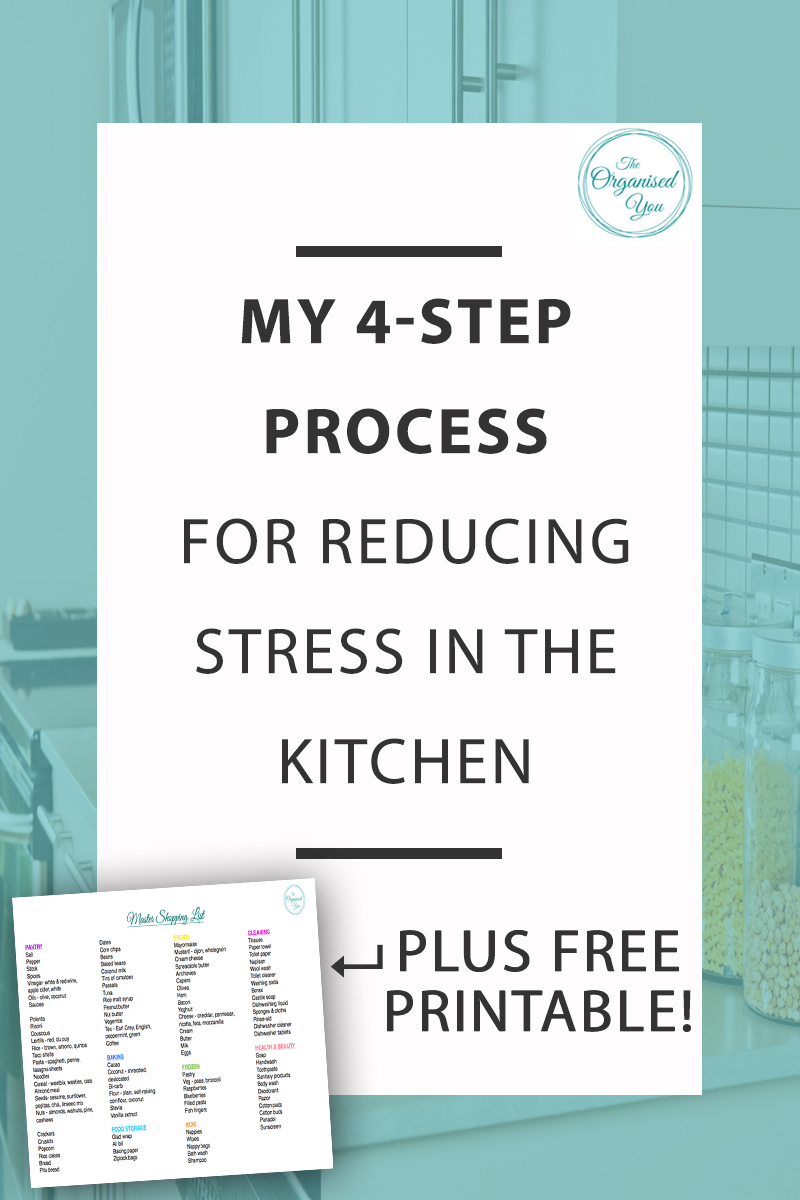 My 4-Step Process for Reducing Stress in the Kitchen - having an organised approach to meal planning, shopping and stocking the fridge and pantry is essential for feeling less stressed in the kitchen. Click through to read my 4-step process for reducing stress in the kitchen and grab your FREE printable of a Master Shopping List - it'll save you a huge amount of time when you're writing your shopping list!