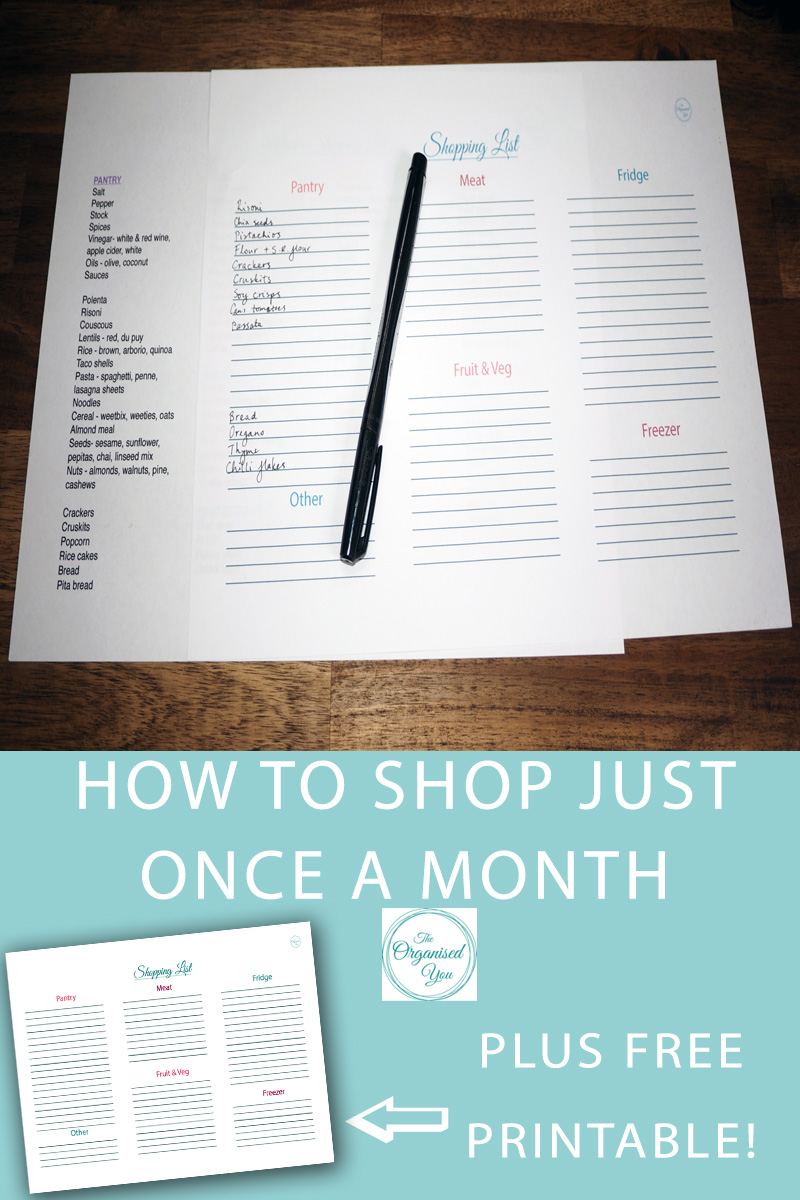 How to shop just once a month {plus free printable!} - doing the grocery shopping just once a month is a massive time and money saver, but you've got to be organised and have the right storage set up. This blog shows you how I set up an organised pantry, fridge and freezer that keeps us going for the month. Click through for your FREE blank shopping list template!