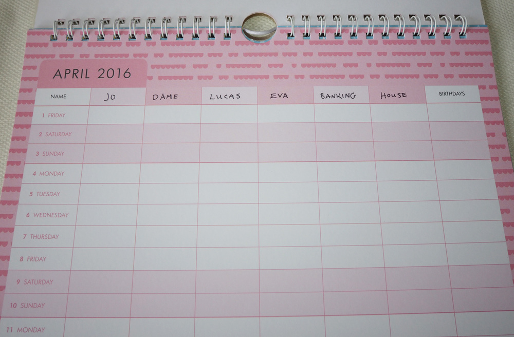When each person in the family has an individual column on the family calendar, it is easier to keep track of what extra activities are on and stay on top of changing schedules