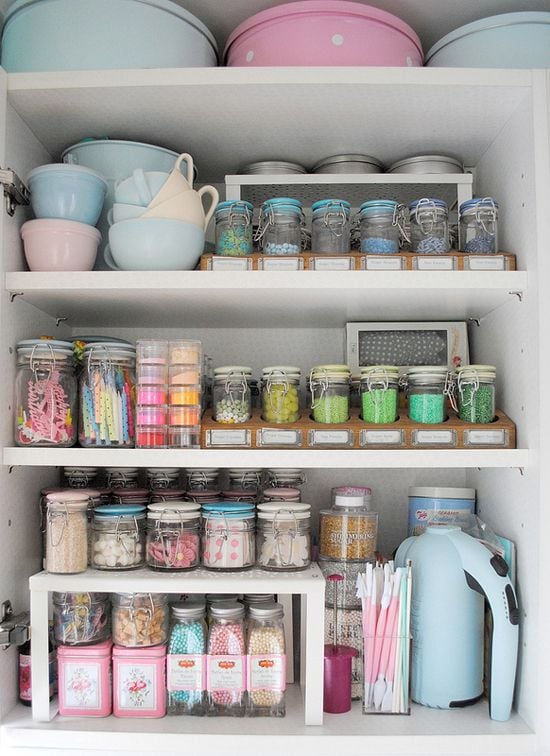 Keep baking supplies separate and organised in their own cupboard or space so that everything is easy to find
