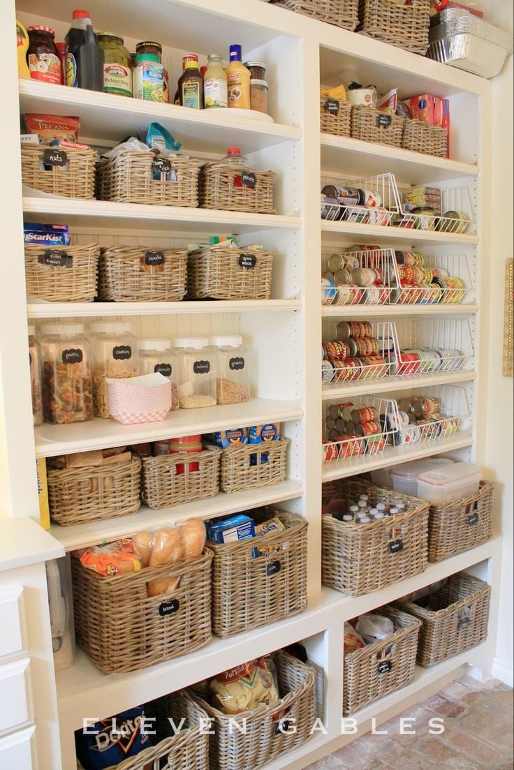 Labelled baskets are a neat and organised way to keep everything contained in the pantry
