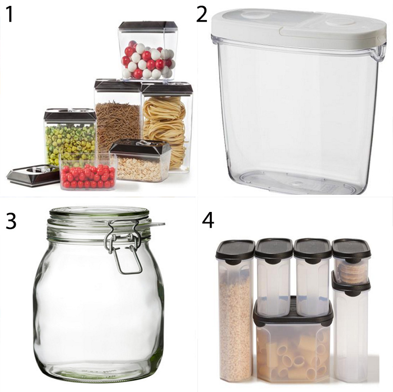 Storage containers for the pantry - go with clear containers or jars so you can quickly grab what you need, as well as being able to easily see what you have and what needs to be topped up at the shops