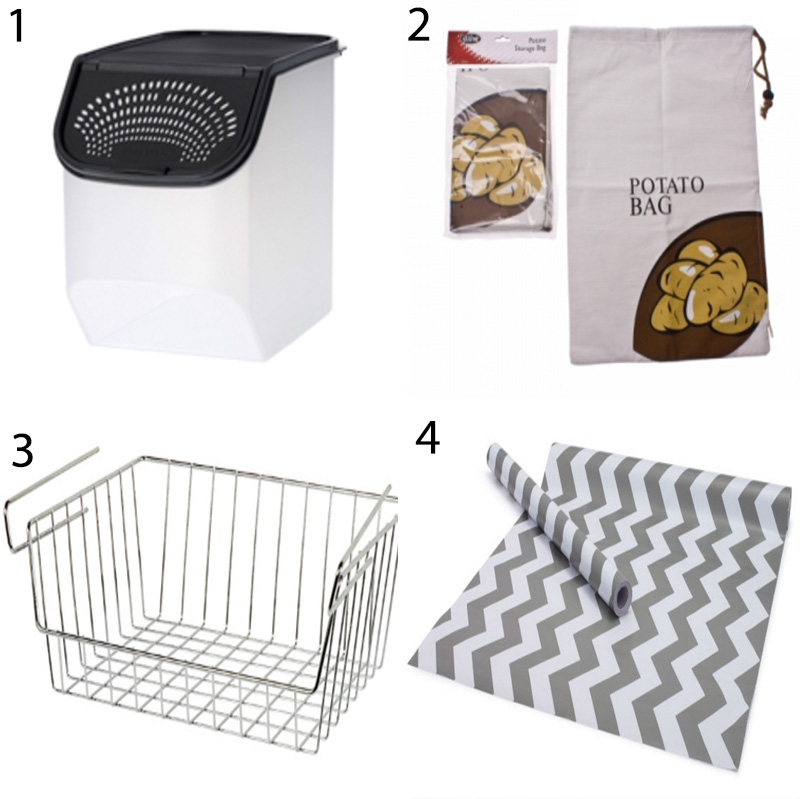Sources: (1) Tupperware Onion Keeper (2) Howards Storage World Potato Bag  (3) Store Under Shelf Basket (4) Etsy TimeSavors Chevron Shelf Liner