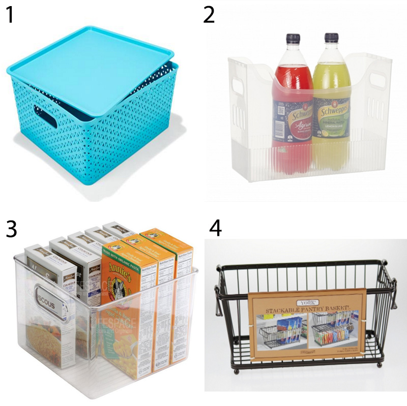 Pull-out storage containers - these will allow you to store packets, boxes, bags of food and miscellaneous items while keeping them contained and easy to access