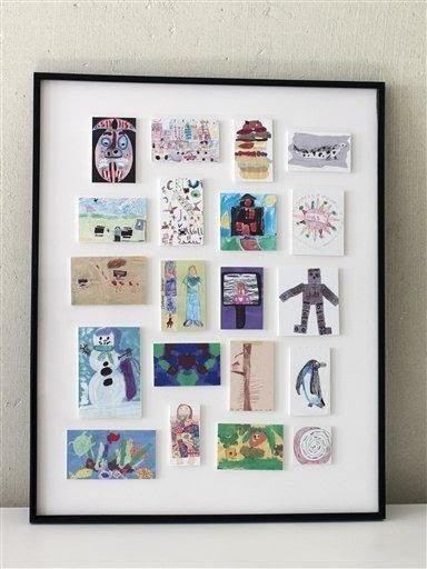 Scanned mini-prints of child's artwork in a meaningful frame