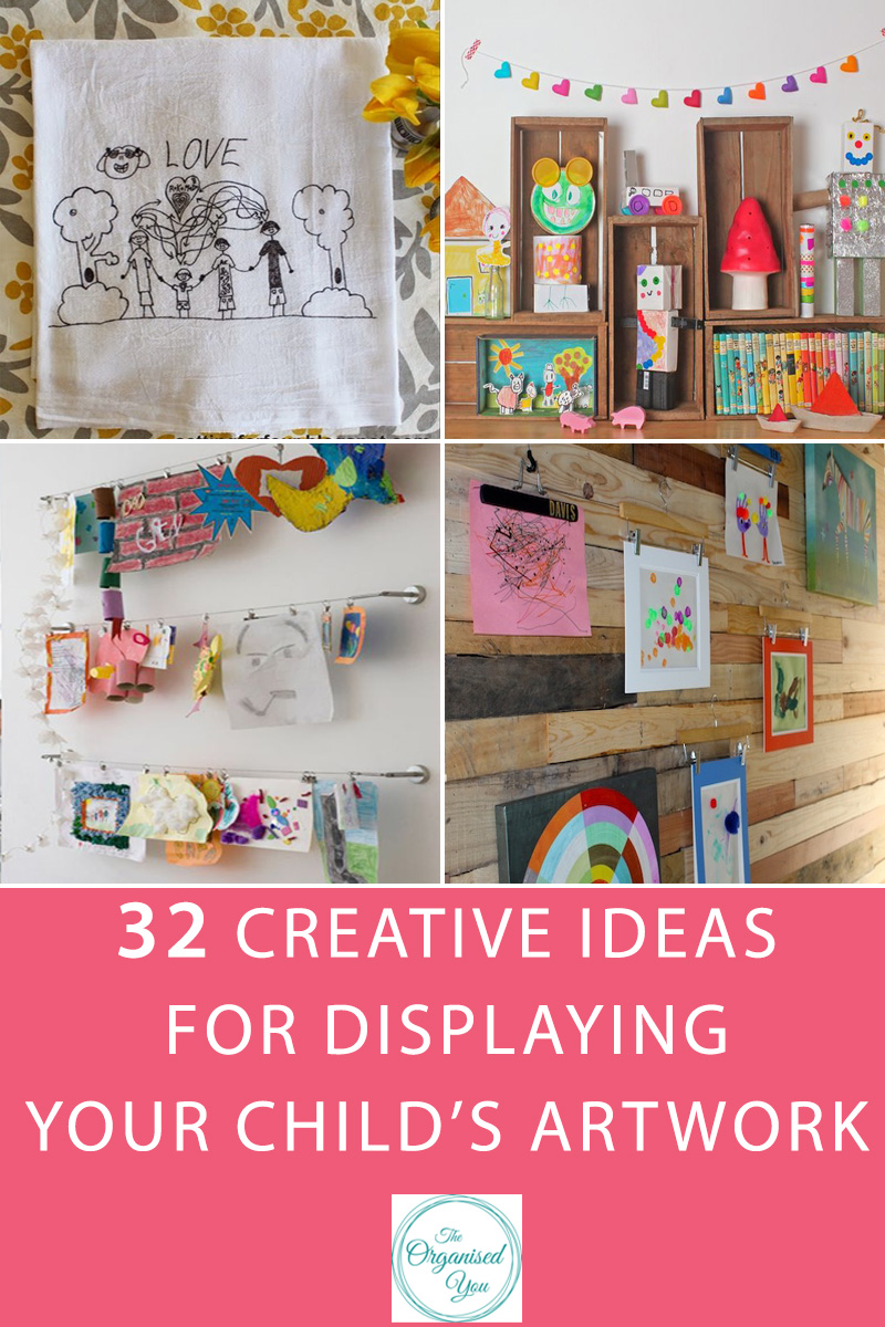 32 Creative ideas for displaying your child's artwork - do you struggle with ideas for how to display your child's artwork? This comprehensive list of creative ideas will give you lots of ideas and inspiration for how to display your child's masterpieces! Click through to read the full post and get inspired