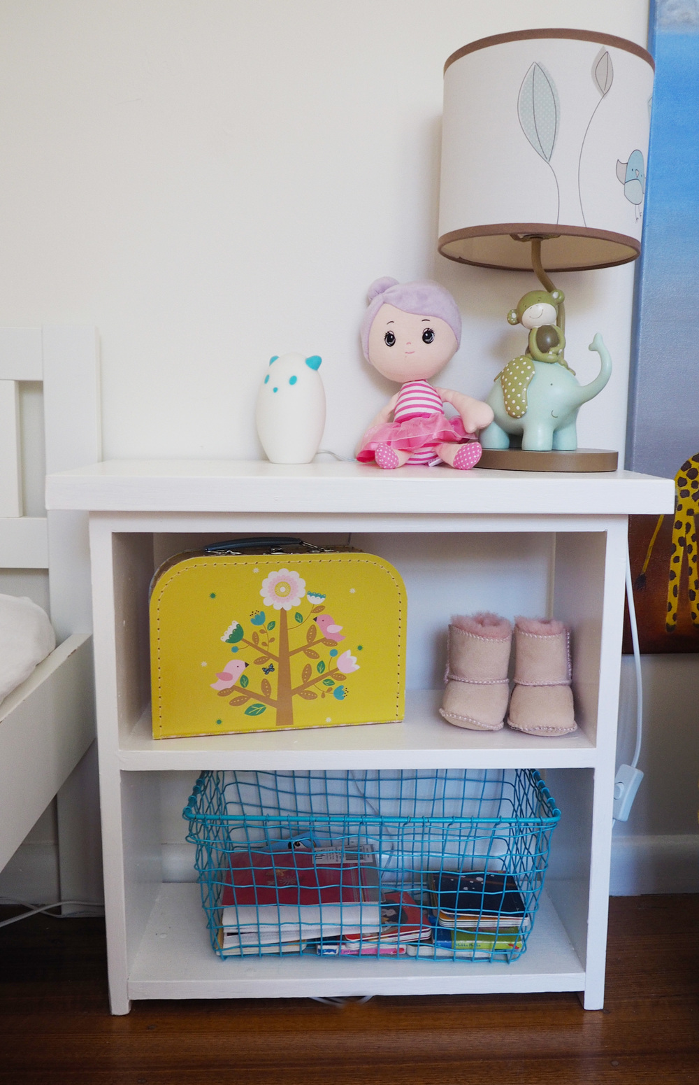 A new child's bedside table - repurposing an old shoe rack into a piece that fits perfectly in the space!