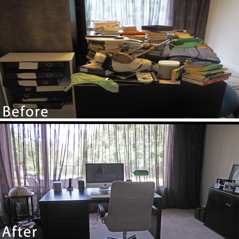 Home office makeover - before and after, an organised and peaceful home office working space