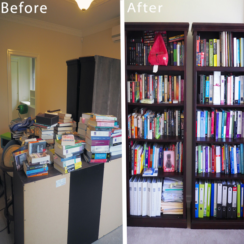 Bookshelf makeover - an organised home office space to hold documents and books