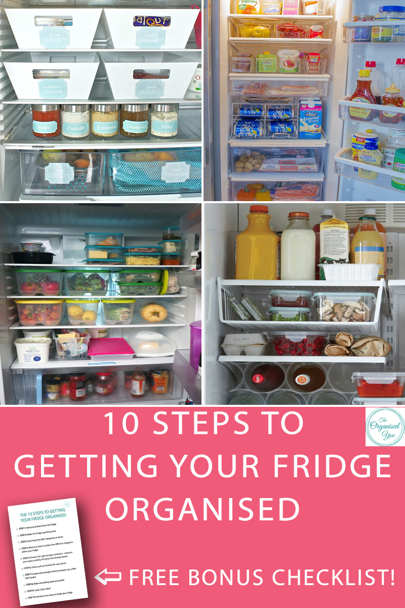 10 Steps to Getting Your Fridge Organised - having an organised fridge will save you a huge amount of time, as you'll always be able to easily find and access what you need. It can also save you money as there won't be food rotting or going past it's use-by-date, and it will run more efficiently too! This step-by-step guide is perfect for busy mums who want to get their fridge organised to work better for their families. Click through to read the post and get the FREE checklist of the 10 steps to getting your fridge organised!