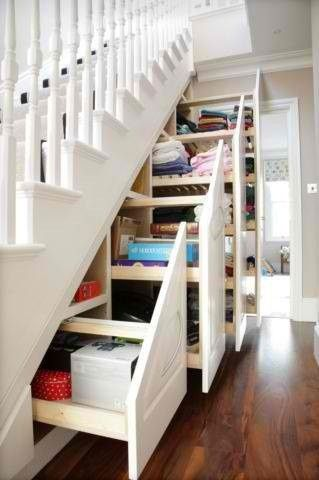 Hidden storage under the stairs