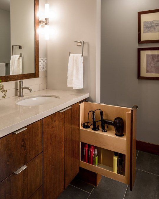 Hidden storage for hair tools in the bathroom vanity