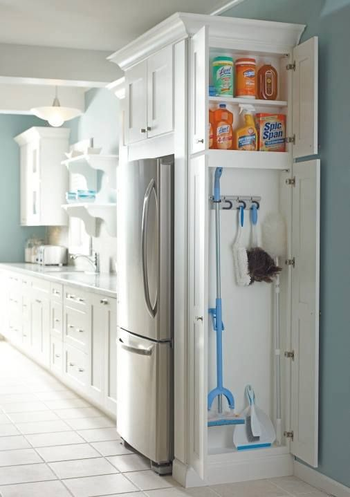 A utility cupboard for holding daily essential cleaning products