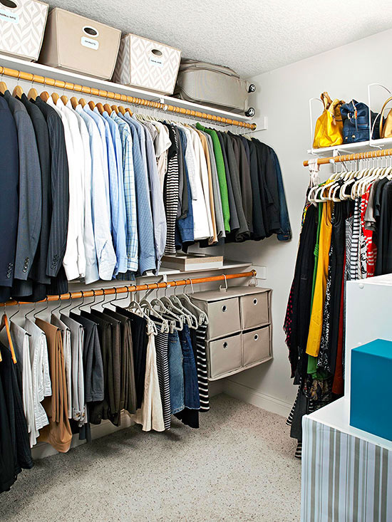 Always be looking for extra storage space above and below hanging clothes in a wardrobe