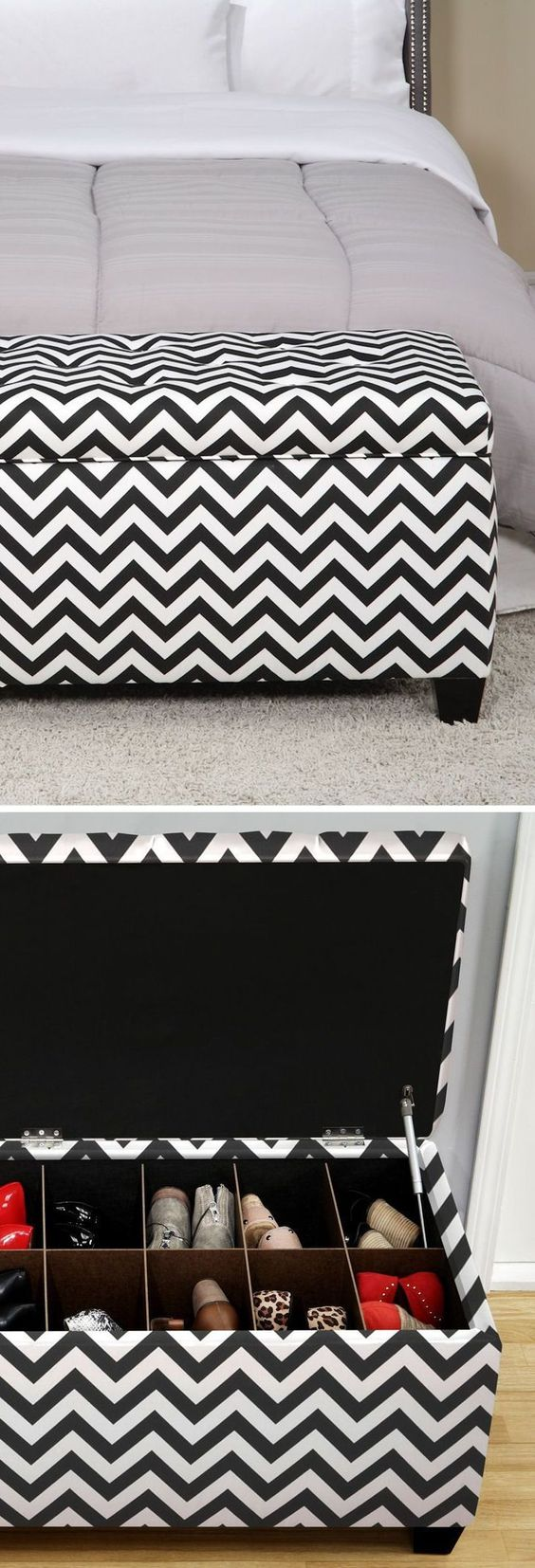 Use a storage ottoman at the end of the bed to store shoes