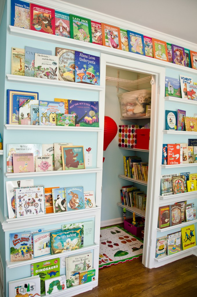 Line walls with narrow shelves to hold books in a child's room or nursery