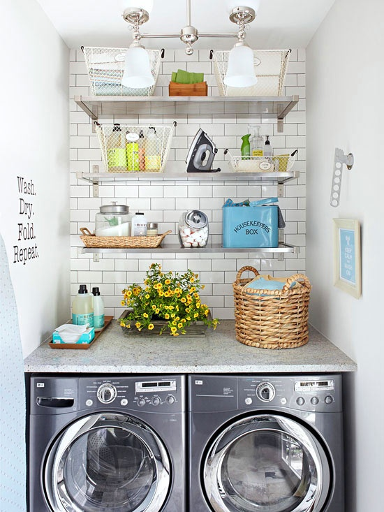 Open shelving in the laundry creates extra storage space for the essentials