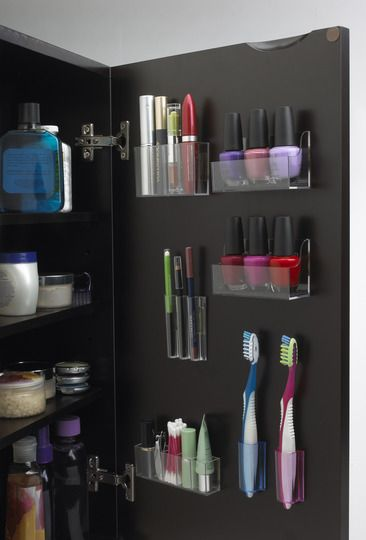 Have a vertical closet in bathroom for extra storage
