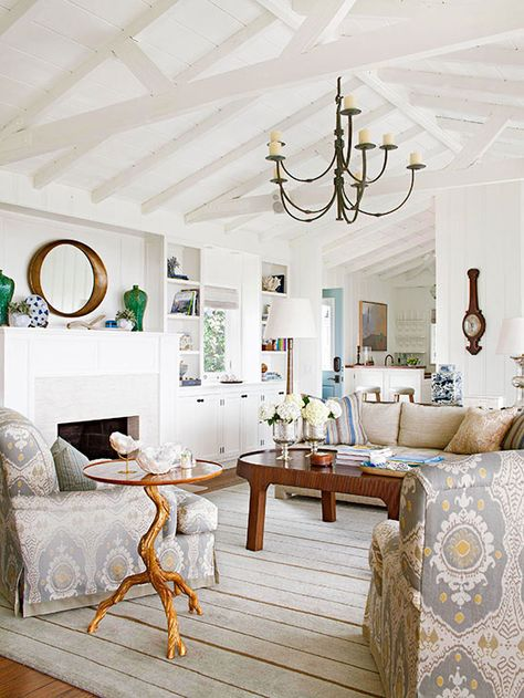 Pitched ceiling with exposed beams from  BHG