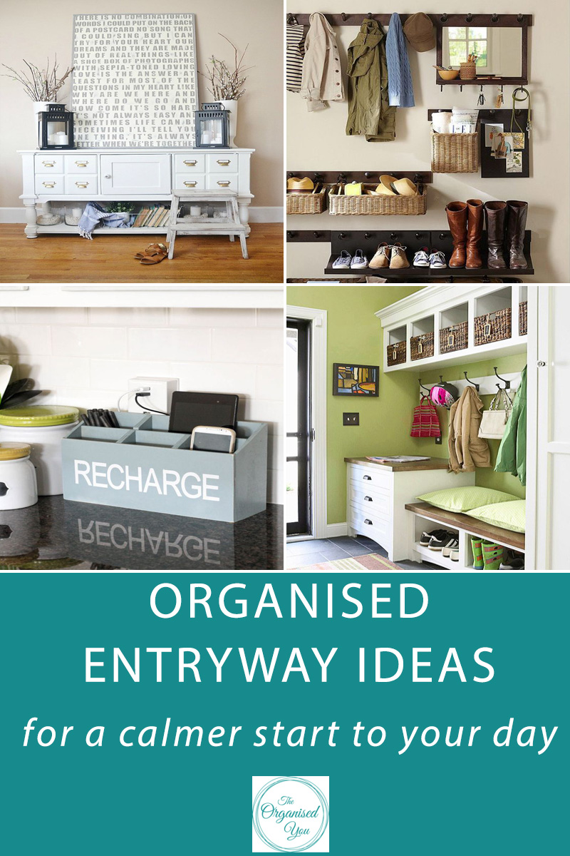 Organised Entryway Ideas for a calmer start to your day - having organised drop-zones set up in your home entryway can make a huge difference to your everyday routine! Reducing stress, cutting clutter, creating a calmer start to the day and having a more organised home are just some of the great benefits of an organised entryway. Click through to be inspired to get your home more organised!