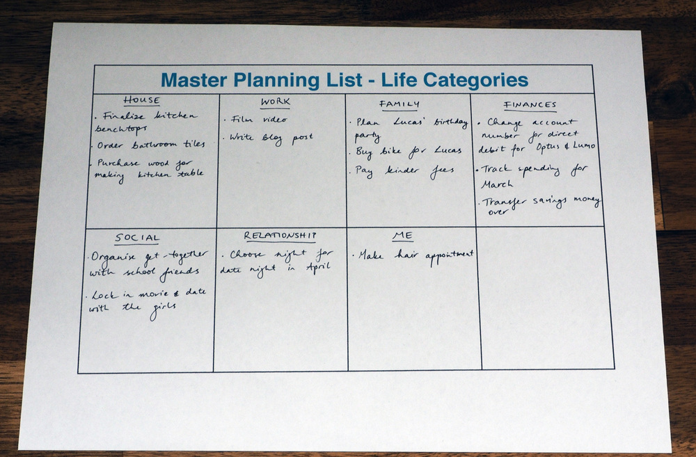 Record your tasks and to-do's on a Master Planning List so you don't have all your chores swirling around in your head. This will help you prioritise what's truly important in each category. Click through for your FREE copy of the Master Planning List template.