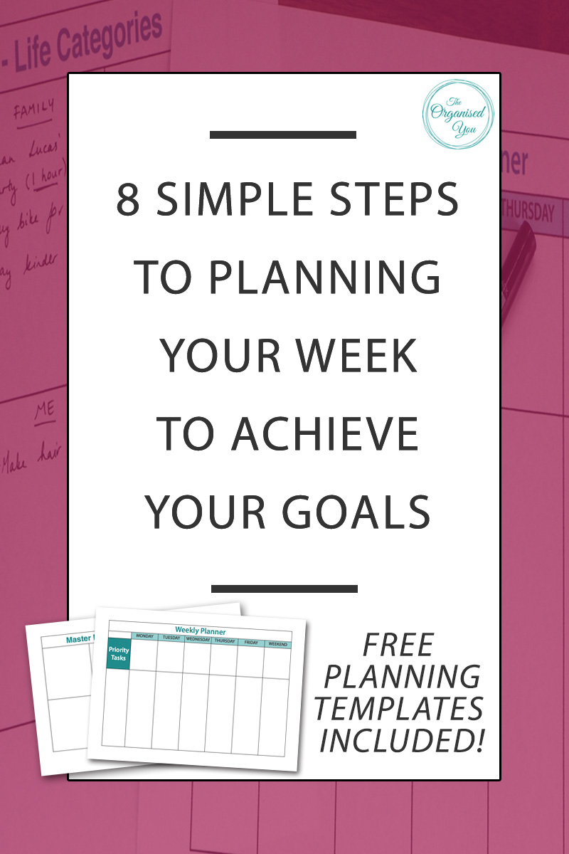 How to plan your week in 5 simple steps - Not having an effective plan for your to-do's and tasks, be it family, work, social, financial or relationship based, can lead to getting nothing done at all, or being totally overwhelmed about which tasks are priorities. A simple weekly planning and scheduling session will help you to use your time more effectively, achieve your goals and be more productive. Click through to read the full post and grab your FREE weekly planner and Master List to help you get more done in your week!