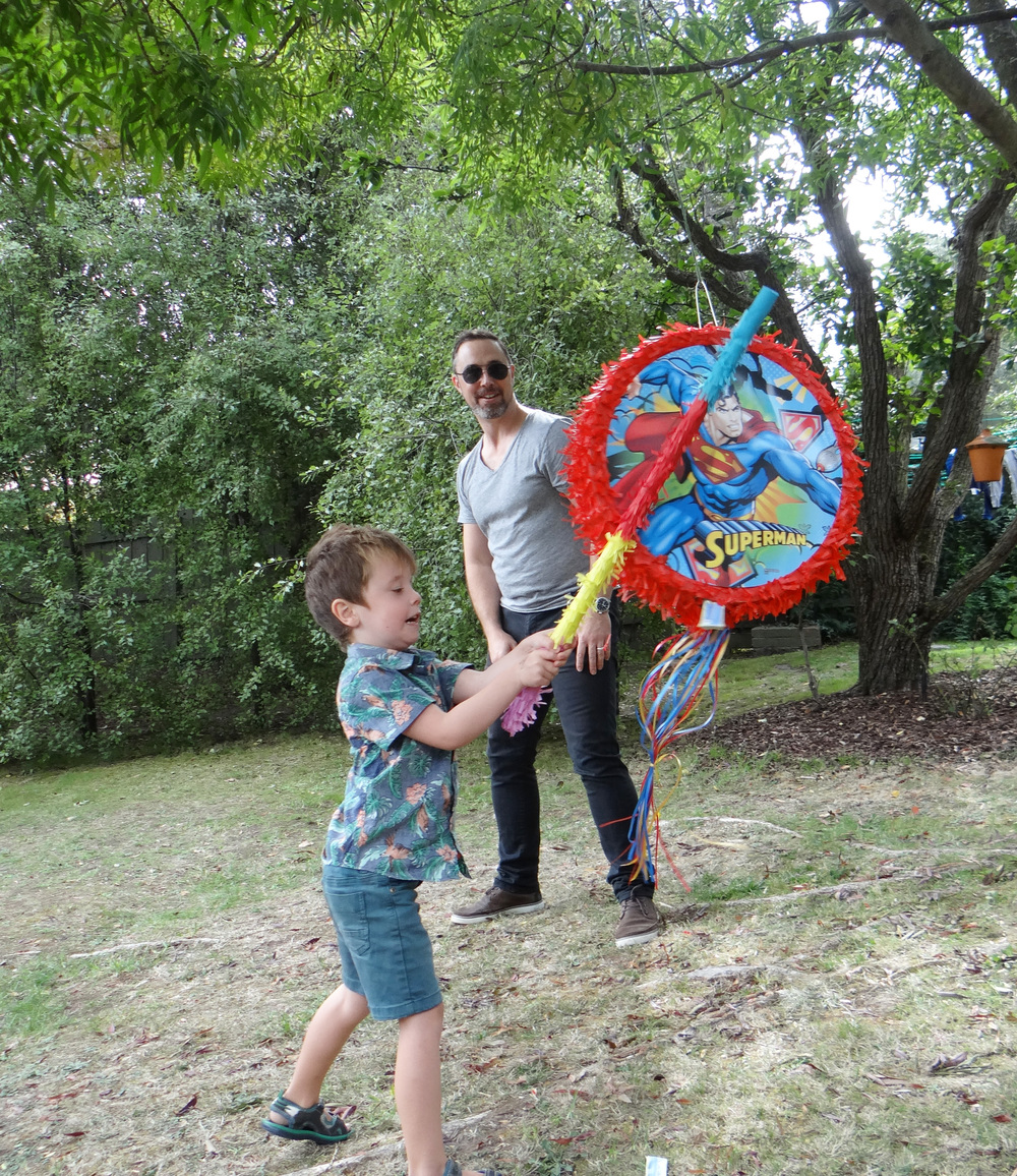 The pinata is a fun party game that the kids love to get into!
