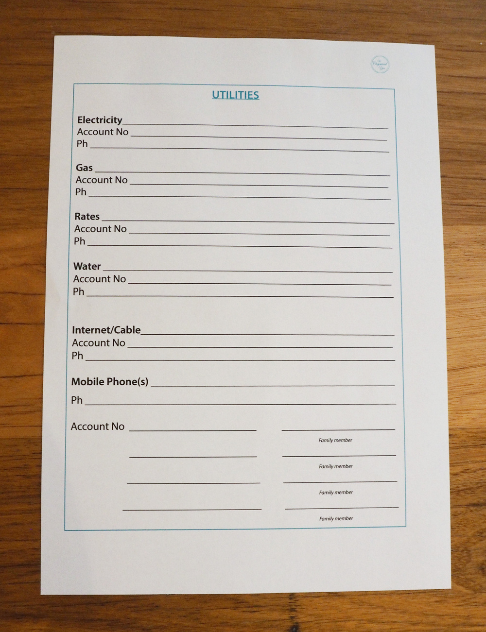 Free household binder printables to help get you more organised at home!