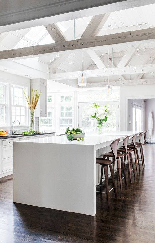 Exposed beams with a white wash