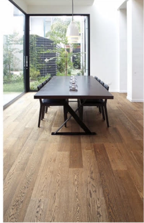 Smoked black and oak floorboards