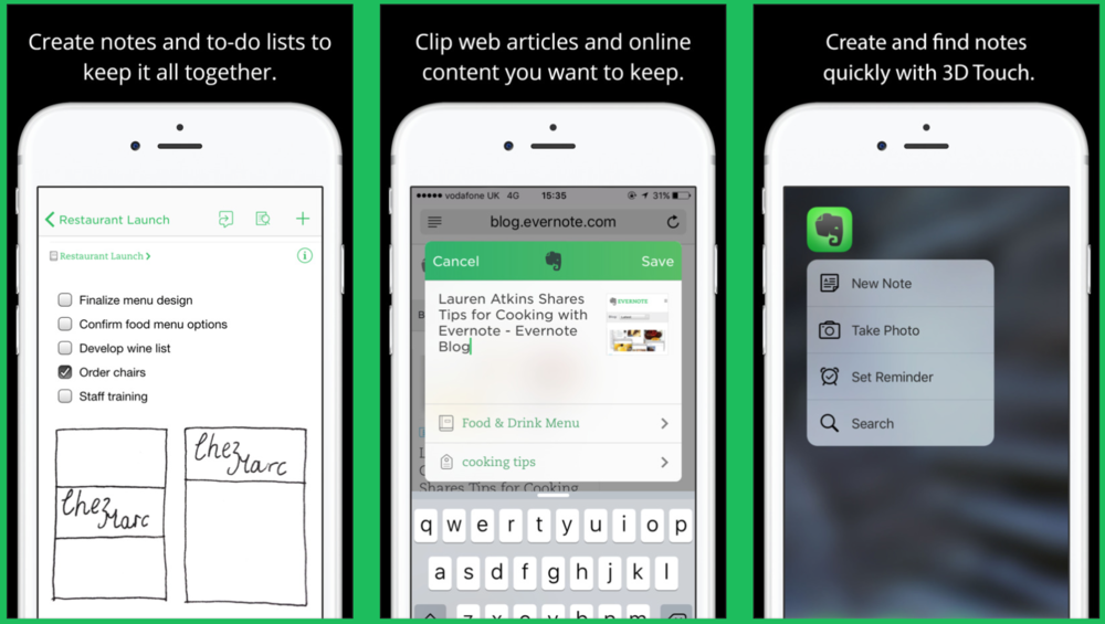 Evernote iphone app for increasing productivity