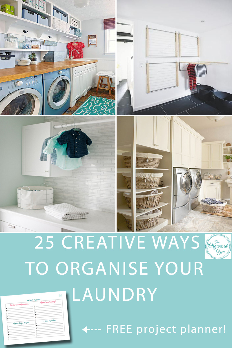25 Creative ways to organise your laundry - whether we like it or not, the laundry is a space we spend a lot of time in, be it sorting, washing, hanging, folding, ironing.... So it really does pay to have a space that is organised, efficient and as functional as possible. In this post I'm sharing 25 ways to get your laundry organised so you can enjoy the time you do spend in there. Click through to be inspired with loads of laundry organising ideas, and grab the FREE project planner to help with any upcoming home projects of your own.