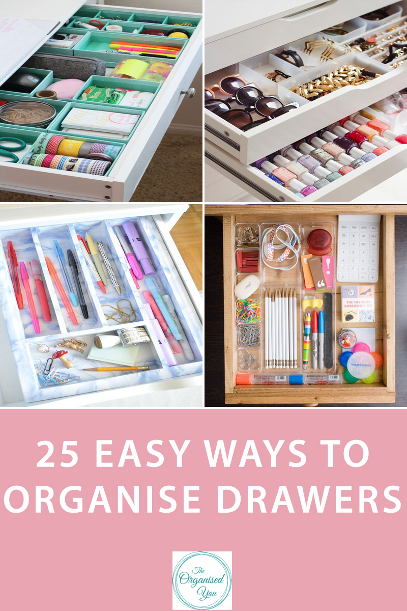 25 easy ways to organise drawers - There are so many drawers used throughout most people's houses, so it's any wonder many of them are cluttered and messy. The biggest trick to drawer organisation is to make sure everything in your home has it's own place, so that you know exactly what to keep where. Drawer dividers are also the simplest and best way to keep contents organised. Click through for some organised drawer inspiration and ideas!