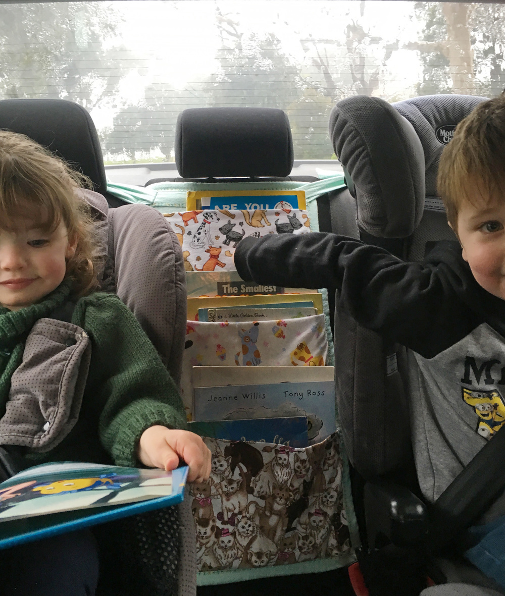 A handy car travel book bag allows kids to easily reach their favourite books in the car, but doesn't take up too much car storage space - perfect!  The Organised You