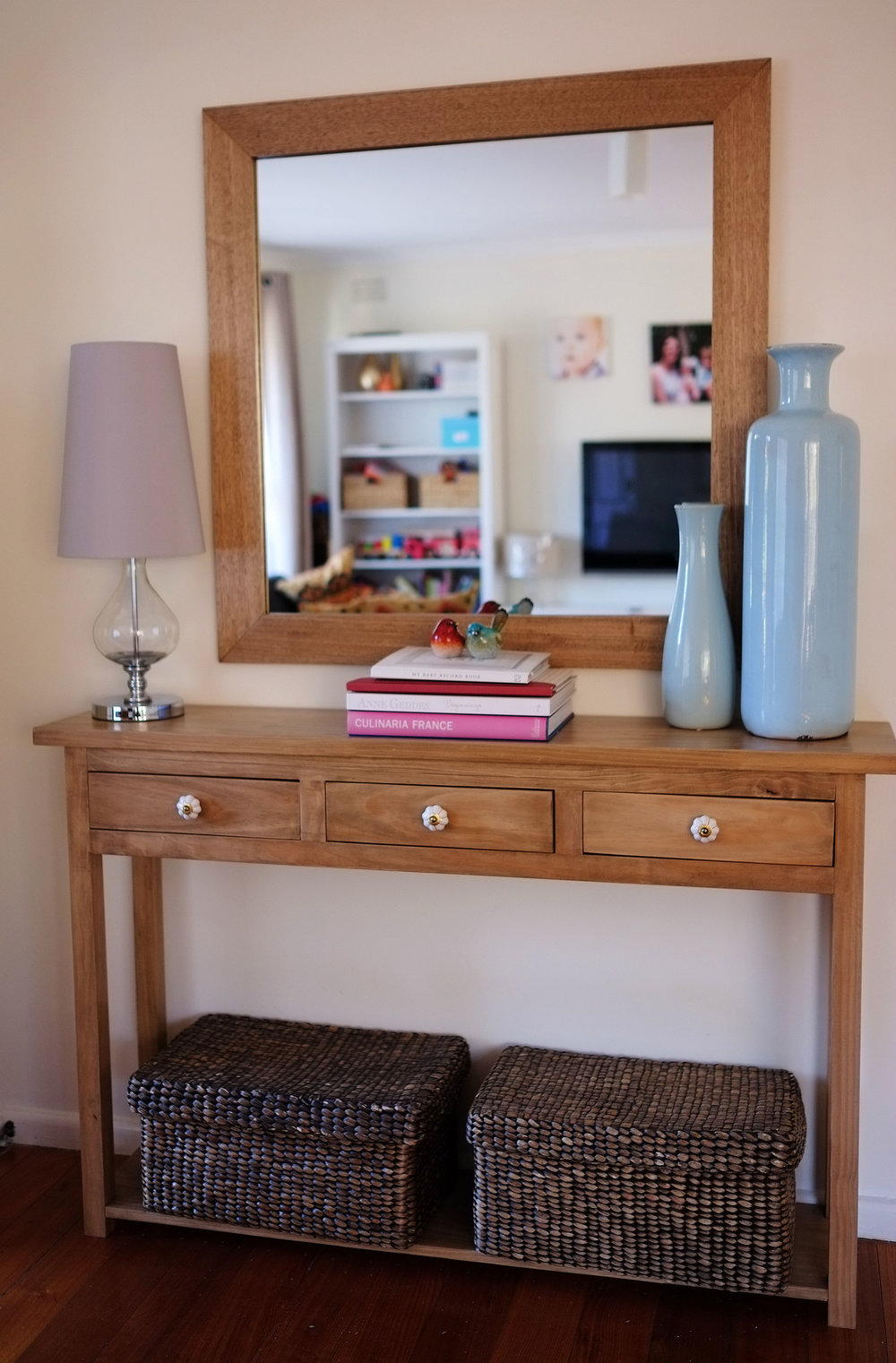Hide lamp cords by attaching the cord to the leg of the table or console - The Organised You