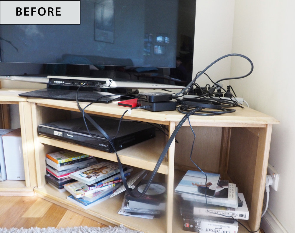 Messy and cluttered TV unit - The Organised You