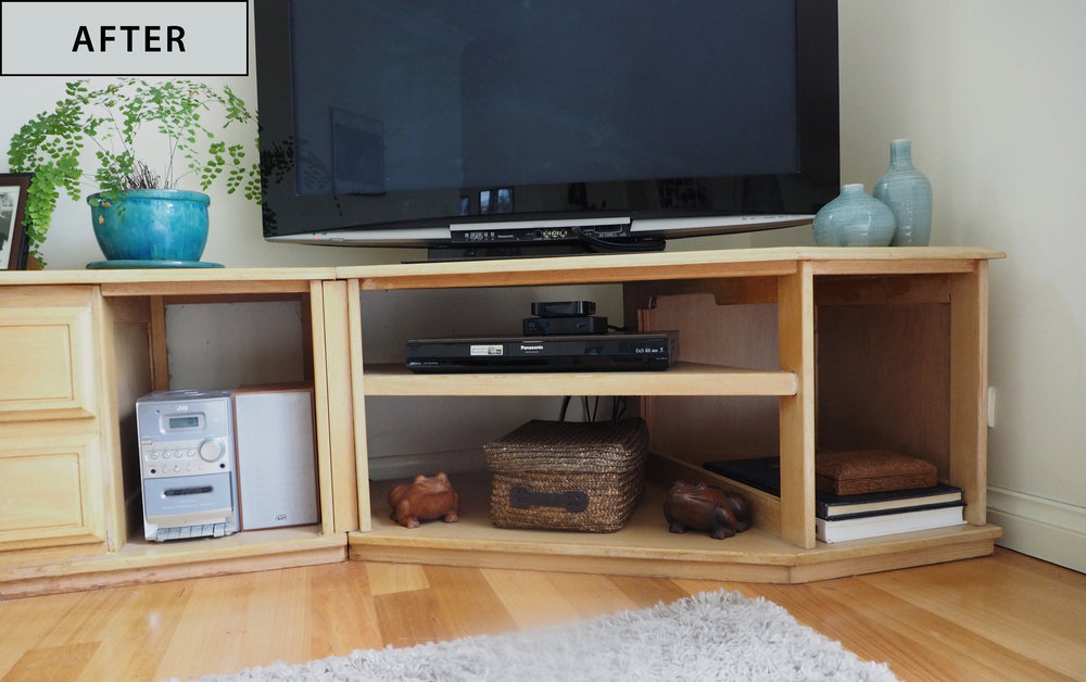 How to organise cords behind a TV unit - an organisation makeover from The Organised You