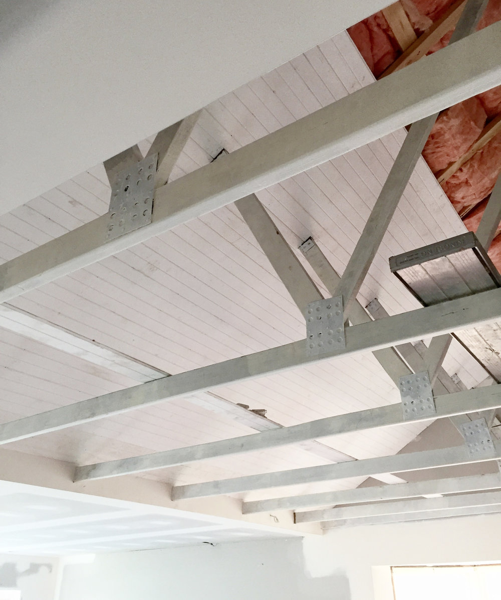 Lining boards on ceiling of exposed beams - The Organised You