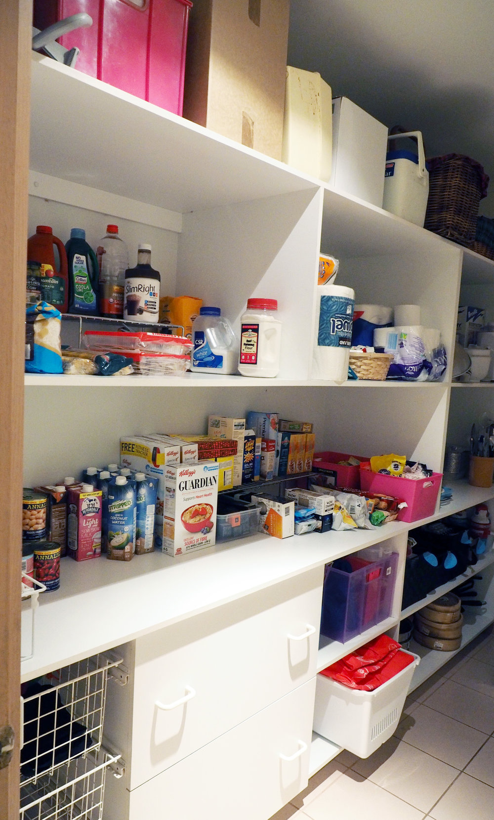 An organised pantry with everything easy to find and easily accessible - client space makeover {The Organised You}