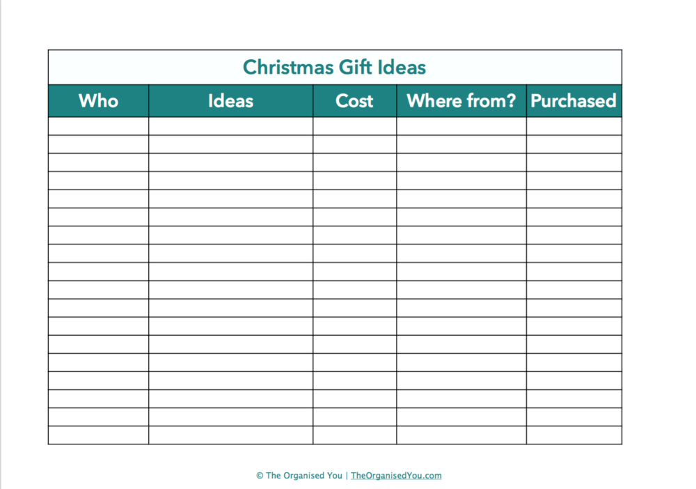 Free Christmas planner from The Organised You