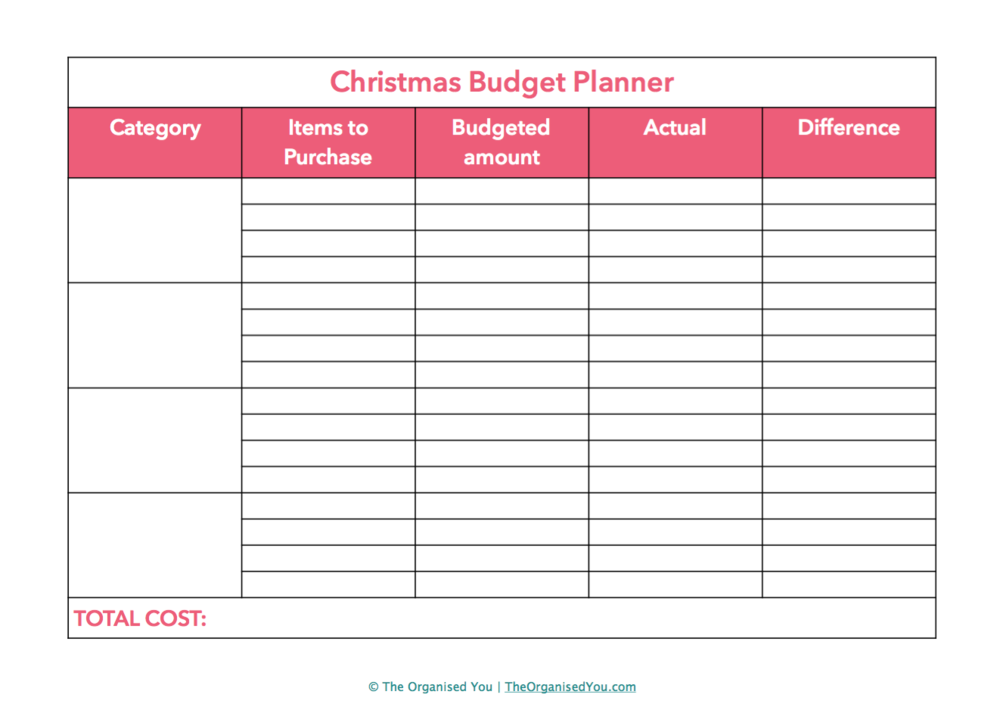 Free Christmas planner from The Organised You - plan your budget and spending so you don't overspend at Christmas